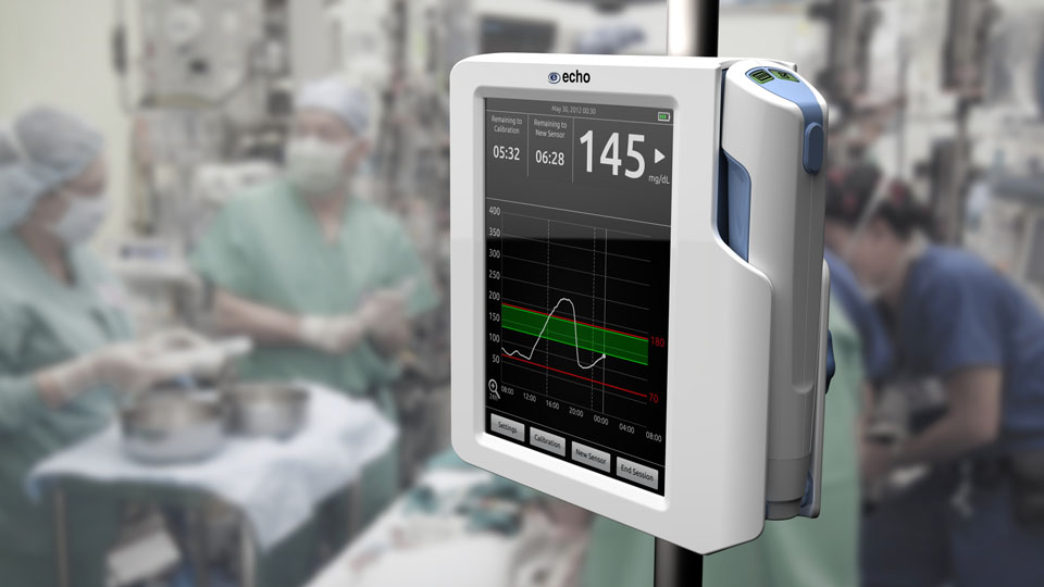 Designed for use in the critical care environment, Echo's wireless tCGM system can be mounted on an IV pole or placed on any flat surface.