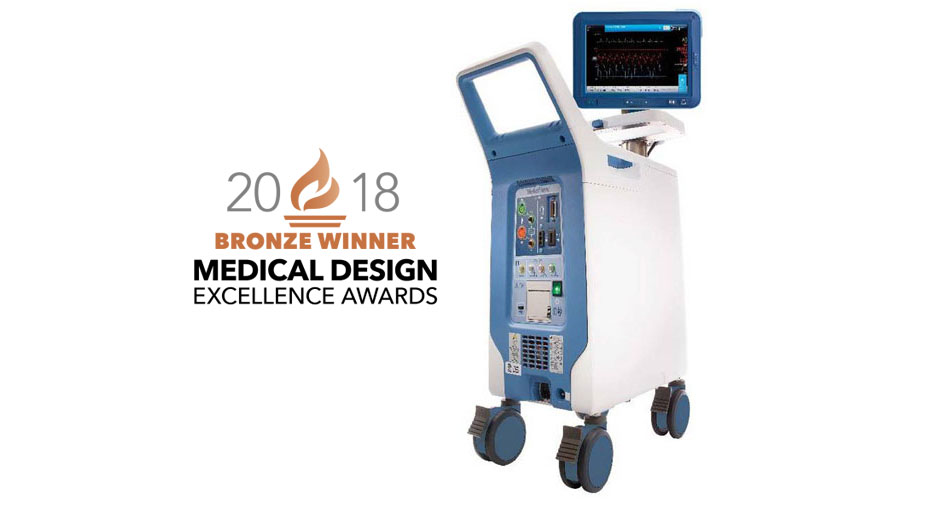 Image of AC3 Optimus Intra-Aortic Balloon Pump cart system superimposed over 2018 Bronze Medical Device Excellence Award logo.